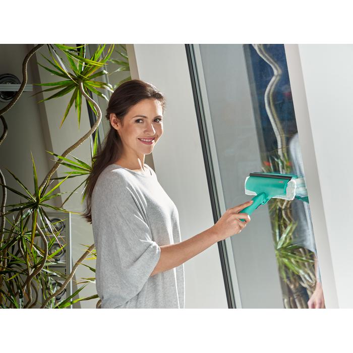 color blanco y verde 3,7 V, 28 cm, autonom/ía hasta 30 min, cargador 500 W 6 Decibelios Leifheit KC10-001 51113-Aspiradora de ventana