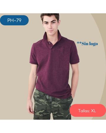 PH-79 Camiseta Polo de Hombre DARK BURGUNDY SIN LOGO