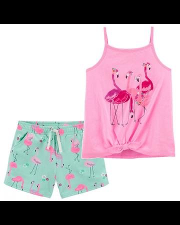 Conjunto 2 piezas flamingos