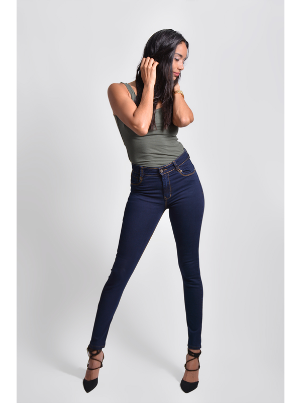 Barcelona Jeans Retro Ajustado De Dama Con Un Boton Tiro Alto Color Azul Petroleo Rohe Jeans